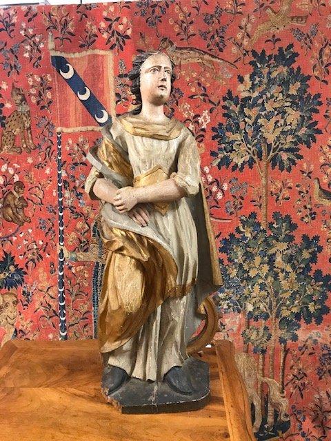 Statue En Bois polychrome d'Un Saint