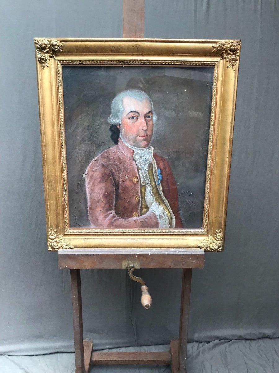 Pastel Portrait De Gentilhomme 19eme