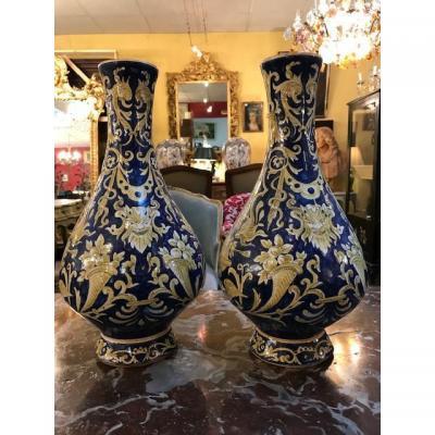 Paire De Vases Desvres Fourmaintraux 19ème