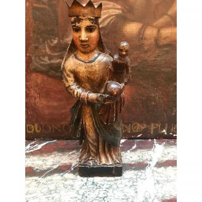 Vierge à l'Enfant En Bois Polychrome Fin 16e Début 17e