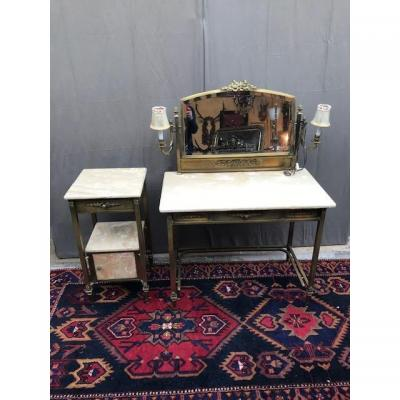 Dressing Table And Its Bedside Year 60 Bronze And Marble