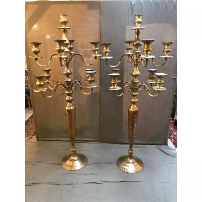 Grande Paire De Chandeliers En Bronze 19ème