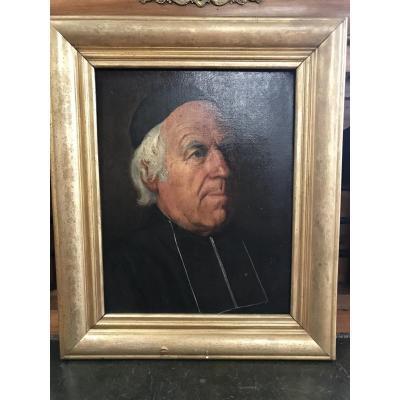Portrait Huile Sur Toile 19eme