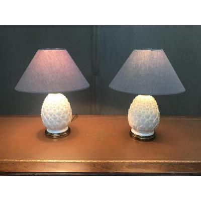 Pair Of Pineapple Lamps 20th
