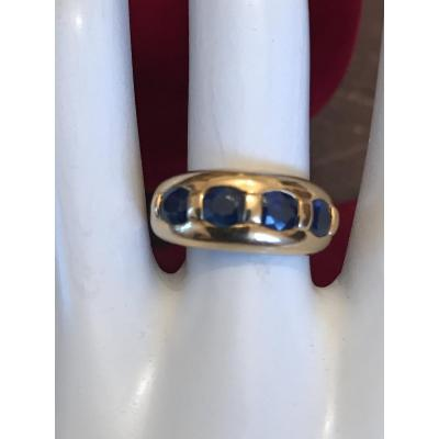 Bandeau Ring Yellow Gold Sapphires