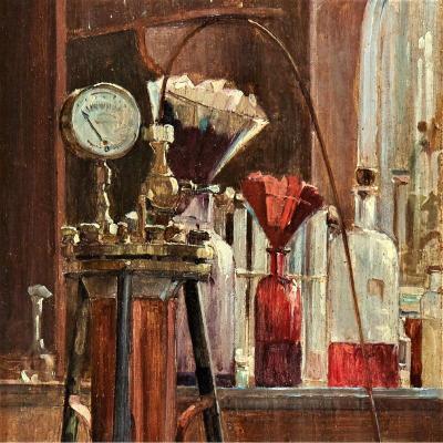 Le Laboratoire, 1891 Par  Olivié Léon (1863-1901)