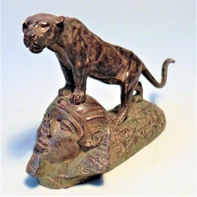 Lioness Standing On A Sphinx By Clovis-edmond Masson (1838-1913)