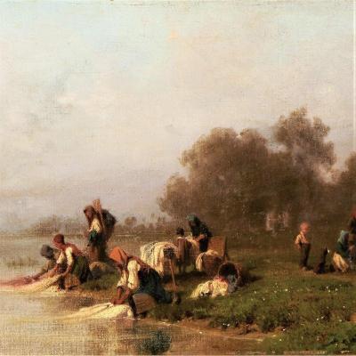 Washerwomen By The River By Karl Girardet (1813-1871)