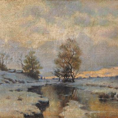 Beginning Of Spring (study) By Ivan Ivanovich Endogourov (1861-1898)