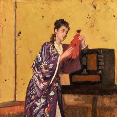 Woman In A Kimono By Gustave Léonard De Jonghe (1829 -1893)