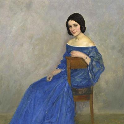A Beautiful Woman In A Blue Dress By Theodor Funck (1867-1919)