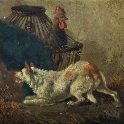 Dog In A Chicken Run By Joos Vincent De Vos