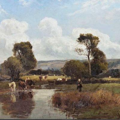 Cows At The Watering Place By William Manners  (1860-1930)