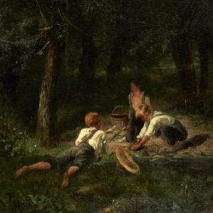 <strong>Children playing in a forest</strong><strong>&nbsp;</strong><br /> A nice and confidently painted scene of three children playing in the midst of a dark forest. Through clever use of colour and light and dark effects, Eli&eacute; Servin creates a mysterious and fairytale-like scene in which all attention is drawn to the playing children.<br /> Benezit cites this pupil of Drolling as an artist of great sincerity, without commercial preoccupation, whose works deserve to be sought after by connoisseurs. <ul> <li>Signed:&nbsp;<strong>Below Right</strong></li> <li>Dated:&nbsp;<strong>1858</strong></li> </ul> Servin Am&eacute;d&eacute;e-&Eacute;lie was a French painter and engraver, founder of the artistic community of Villiers-sur-Morin.<br /> Servin was born to a tanner, who, disappointed by his son&#39;s failure in his studies, apprenticed him to an upholsterer where he learned to draw cartoons. He then entered the &Eacute;cole des Beaux-Arts and studied under the painter Michel Martin Drolling. At this school, he befriended students of his generation, such as Jean-Jacques Henner, Benjamin Ulmann and Paul Baudry.<br /> He made his debut at the Paris Salon in 1850, presenting a courtyard interior; thereafter, he exhibited regularly. In 1855, he exhibited three landscape paintings inspired by Normandy and the following year, he was inspired by landscapes of Brittany. He was in contact with the first generation of painters who frequented Barbizon, where he met Th&eacute;odore Rousseau and Jean-Fran&ccedil;ois Millet.<br /> Around 1857, he settled in Villiers-sur-Morin, and in 1860, he founded the &quot;artistic circle of Villiers&quot;, and persuaded other artists and writers to come to this village. He began to produce landscapes inspired by this Seine-et-Marne village, where he remained until his death.<br /> In 1872, he received a medal at the Salon, one year after losing his wife. His widowhood made him sad, his production decreased.<br /> His friend Alexandre