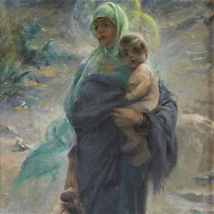 <strong>Virgin and Child, 1892 : a mix of orientalist and religious painting</strong> <ul> <li>Signed lower right and dated</li> </ul> Paul Quinsac ( 1858-1929 )<br /> A painter of mythological scenes, allegorical subjects, portraits and landscapes, Paul Quinsac was a pupil of Jean-L&eacute;on G&eacute;r&ocirc;me and was resolutely traditionalist, not to say academic. Paul Quinsac was nicknamed &quot;the painter of Bordeaux elegance&quot;. He exhibited for the first time in Paris at the Salon of 1880 and continued to do so when it was renamed the Salon des Artistes Fran&ccedil;ais. He became a member in 1887.<br /> Paul Quinsac settled in Montmartre from 1880 to 1886, during which time he worked as an illustrator for the Courrier-Fran&ccedil;ais. A talented advertiser, he created numerous posters.<br /> In 1887, Quinsac returned to Bordeaux, where he received numerous commissions, including decorations for the library of Henri Bordes, for which he created the Apotheosis of Gutenberg in 1894, and also for the Ch&acirc;teau Bourran, the Prefecture and the Savings Bank.<br /> In 1889, he was awarded a third category medal at the Universal Exhibition and a travel grant.<br /> In 1901, he became a professor of painting and drawing for the upper class at the Bordeaux School of Fine Arts and trained a considerable number of Bordeaux artists.<br /> In 1906, he was president of the first Bordeaux exhibition called l&#39;Atelier, which brought together local artists who were ardent defenders of the academic style.<br /> He was named Chevalier de la L&eacute;gion d&#39;Honneur in 1908. In 1925, he was admitted to the Acad&eacute;mie nationale des sciences, belles-lettres et arts de Bordeaux.<br /> The Mus&eacute;e de Beaux-Arts de Bordeaux holds the Portrait of Madame Seigne.