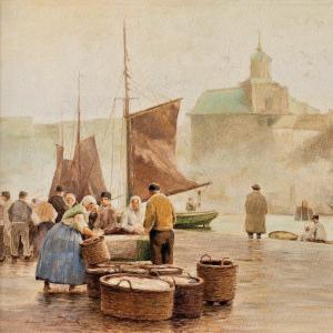 Marché Aux Poissons Dans Le Port Signé Hans Heinz Luck Df.