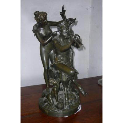Sculpture Bronze  :  Groupe Faune, Femme et Enfant, signé CLODION