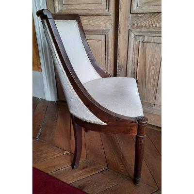 Chaise De Toilette Empire En Acajou