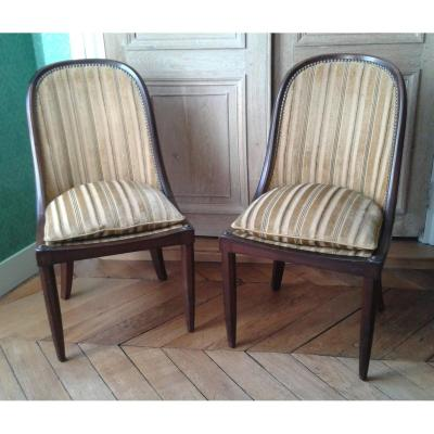 Pair Of Art Deco Chairs In Rosewood