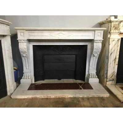 Antique Empire Style Fireplace In White Marble With Lion Legs.
