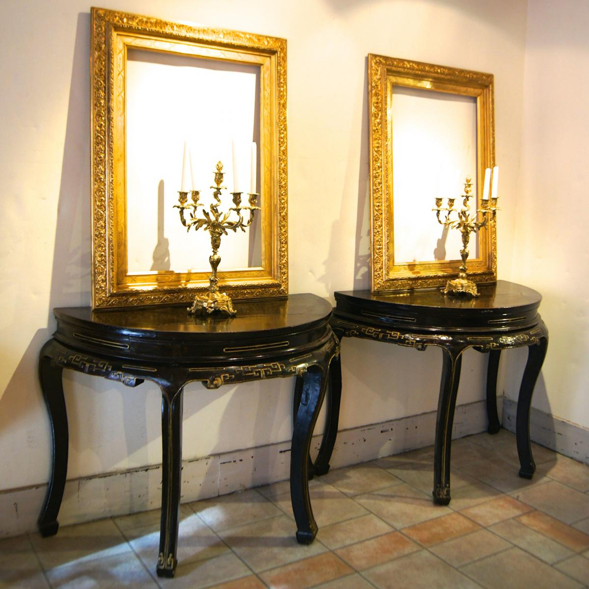 paire console 4 pieds laque noire r hauts dor s table de milieu consoles anciennes. Black Bedroom Furniture Sets. Home Design Ideas
