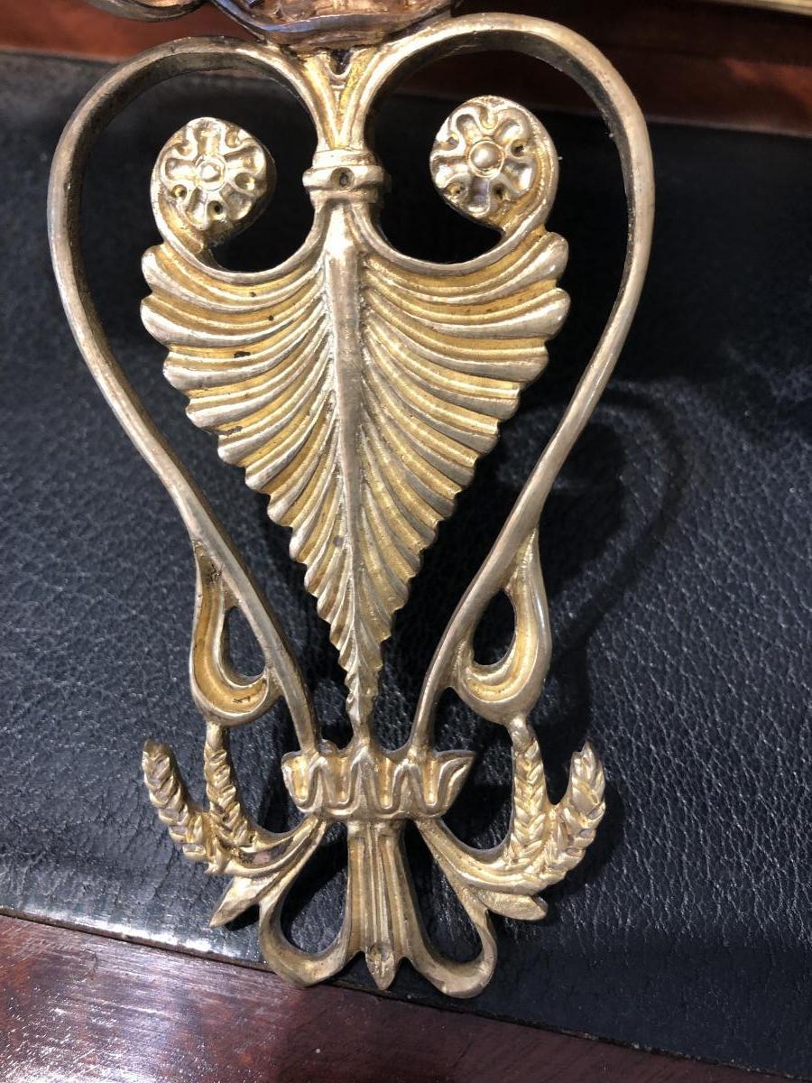 Paire D Appliques En Bronze Doré D époque Restauration Dorure Au Mercure. Début -photo-3