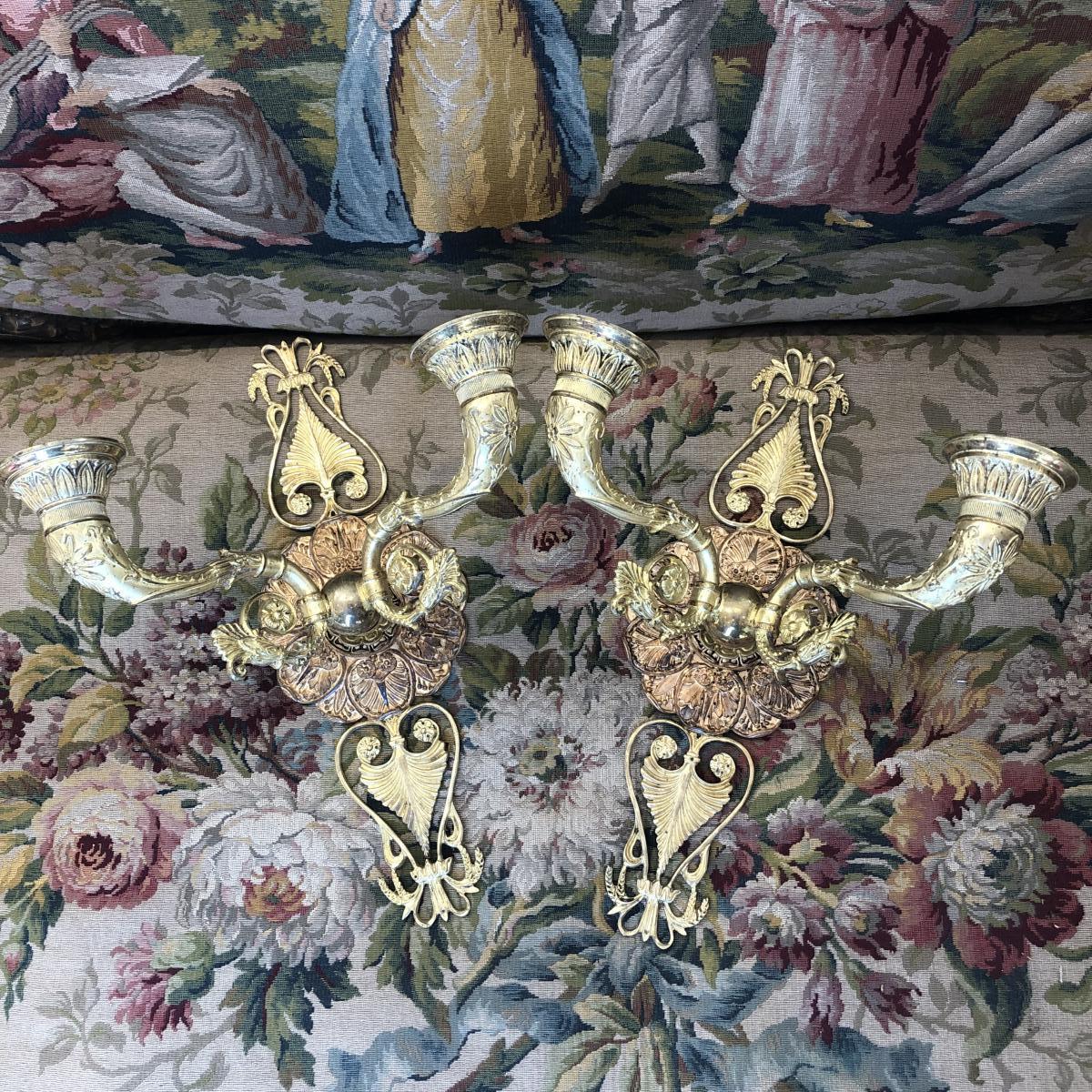Paire D Appliques En Bronze Doré D époque Restauration Dorure Au Mercure. Début -photo-4