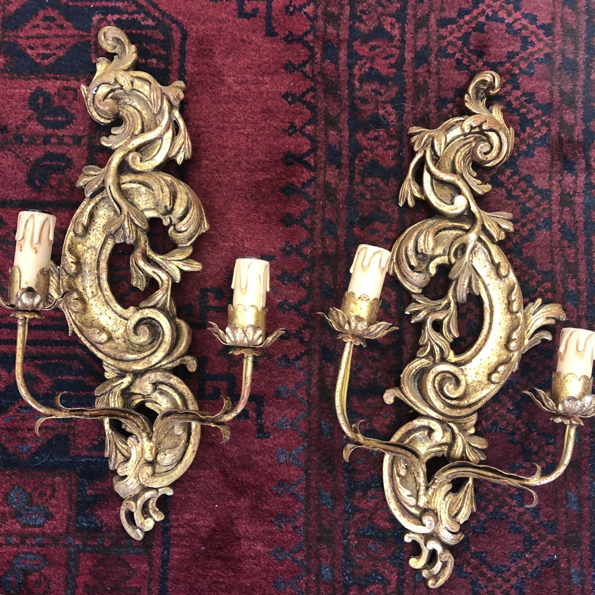Pair Of Louis XV Style Wall Sconces Gilded Wood 2 Fires Early XX Ieme