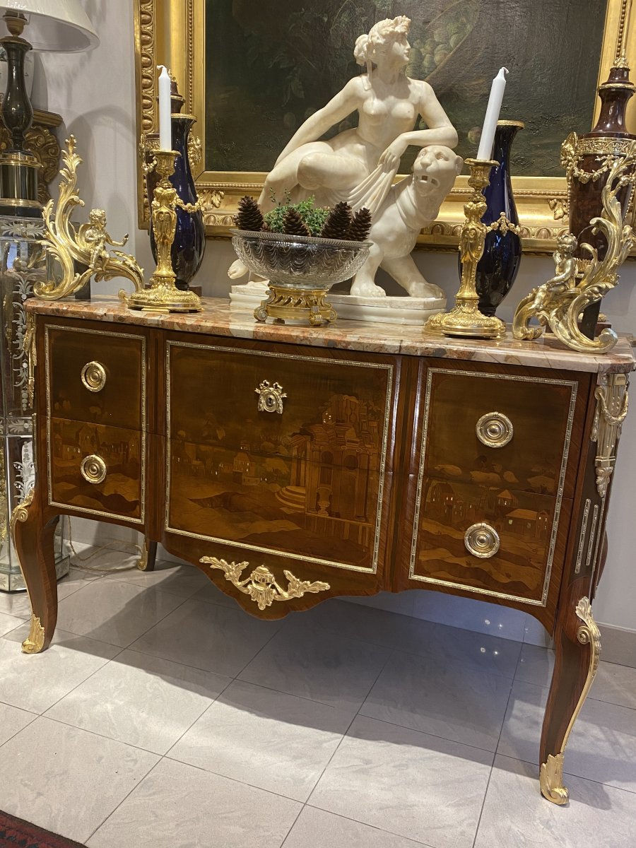 Transition Style Commode In Marquetry From Early Twentieth Time
