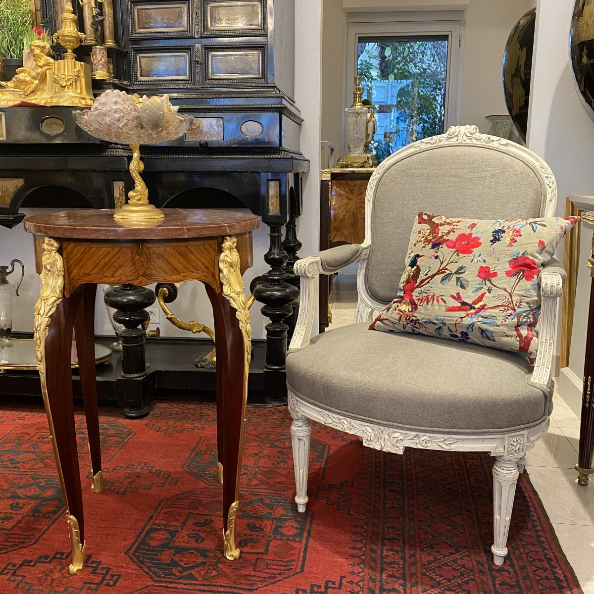 Gueridon Louis XV In Marquetry, Beautiful Trim Of Golden Bronzes, Marble Top Cherry End