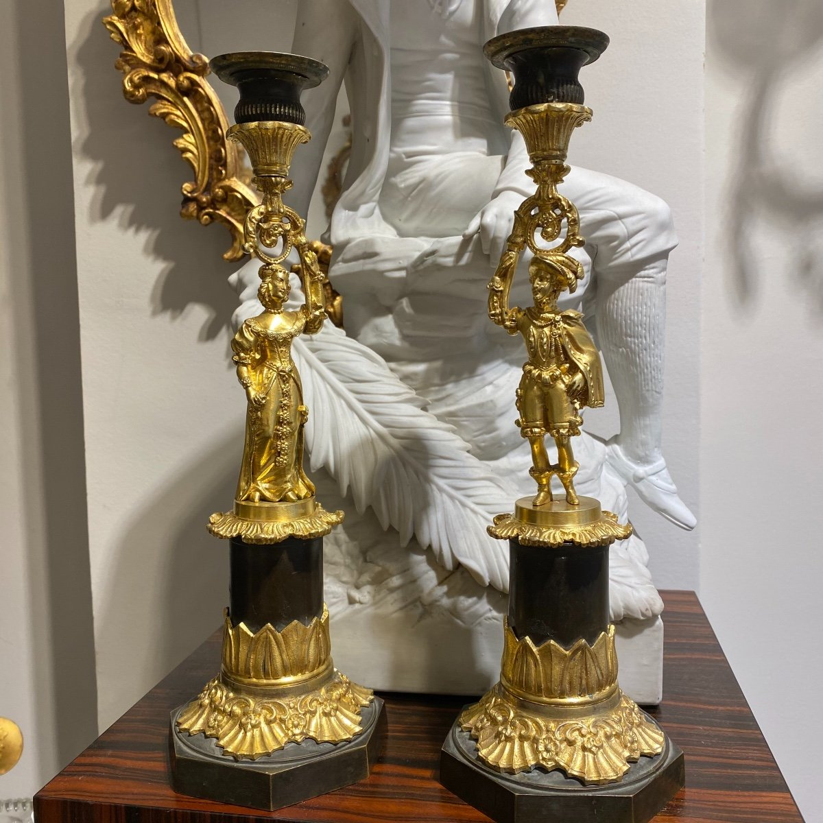 Pair Of Charles X Candlesticks In Gilt Bronze With Mercury Decor From A Couple Early XIXth