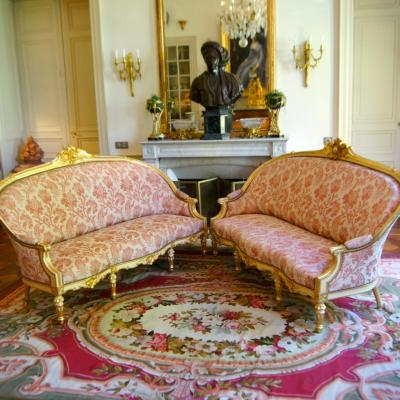 Pair Of Sofas, Gilded And Laquered Large