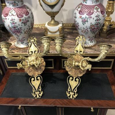 Paire D Appliques En Bronze Doré D époque Restauration Dorure Au Mercure. Début