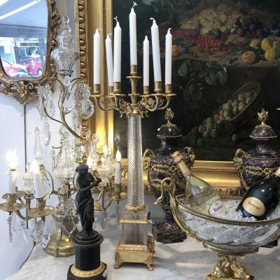 Grand Chandelier ( 73 Cm )  à 7 Feux En Bronze Doré Et Cristal Taillé Millieu XX Ieme