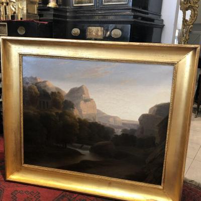 Grand Tableau Paysage Italien Huile Sur Toile Début XIX Ieme