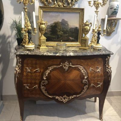 Commode D Apparat Louis XV Style In Marquetry Signed Of Dainet Early XX Ieme