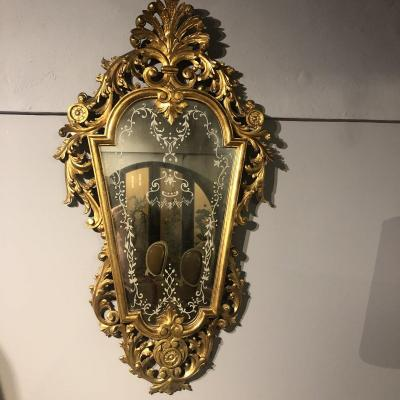 Italian Mirror In Golden Wood Ice Engraved From Venice Early XXth