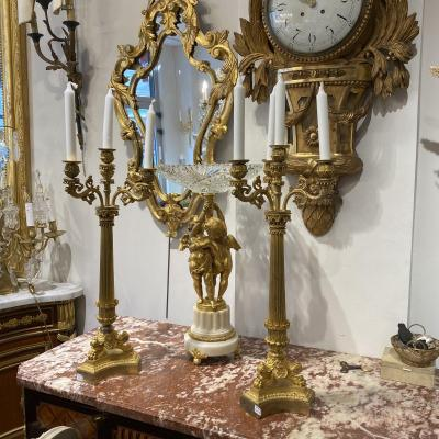 Pair Of Large Candlesticks (62 Cm) With 4 Lights Charles X Period In Gilt Bronze Mercury.
