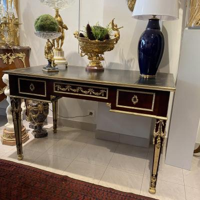 Bureau Louis XVI Style Ceremonial And Napoleon III Period Mahogany And Leather Top