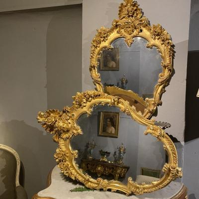 Pair Of Regency Style Golden Mirrors With Woman's Masks XIXth Time