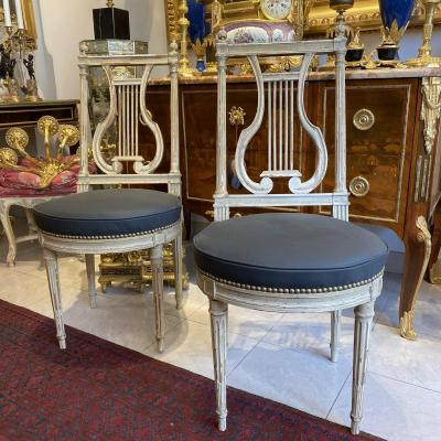 Pair Of Lyre Chairs In Lacquered Wood Sitting Racket Covered In Gray Leather XIX Ieme