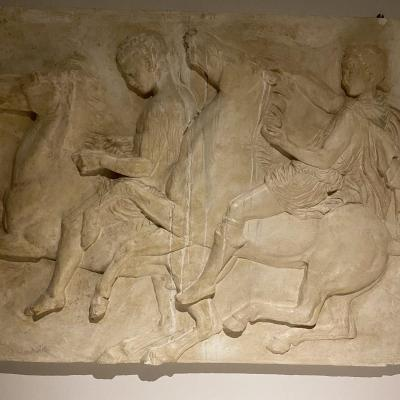 Large Antique Plaster From The Louvre Museum Representing A Parthenon Fresco Late XIX