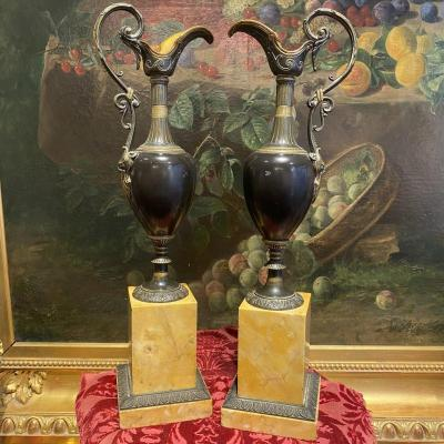 Pair Of Sharpers In Bronze Patina Brown Mounted On Sienna Marble Bases Early XIX I