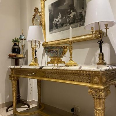 Large Louis XVI Style Console Table In Golden Wood Quiver Decorations Top Breach Marble
