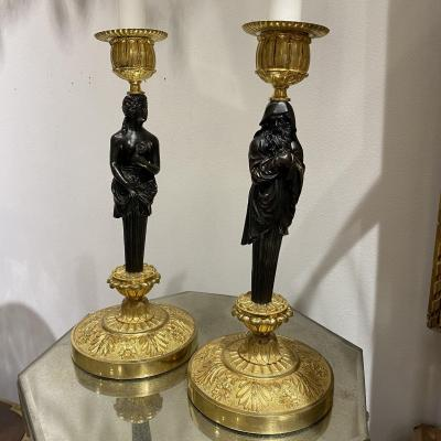 Of Candlesticks In Gilt Bronze And Brown Patina Decor Of Person In The Antiq Of The Empire Period
