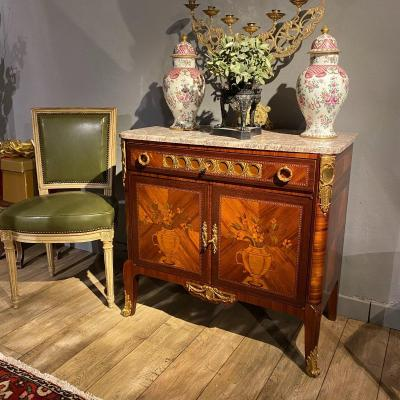 Transition Style Buffet In Marquetry Forming Writing Table, Parisian Work