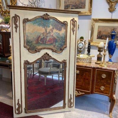 Miroir En Trumeau Laqué Avec Scène Galante Fin XIX Ieme