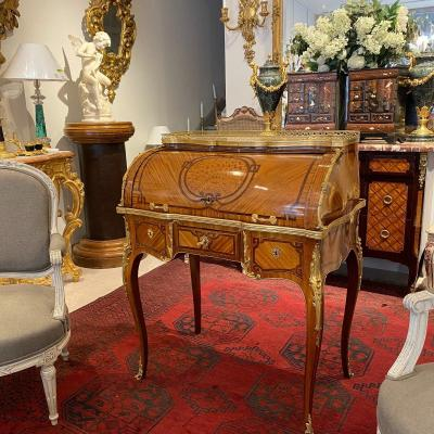 Bureau Cylindre De Style Louis XV En Marqueterie Fin XIX Ieme