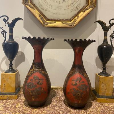 Paire Vases En Porcelaine Du Japon Fin XIX Ieme