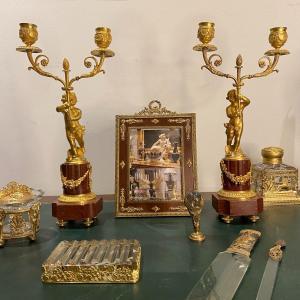 Paire De Chandeliers à 2 Feux En Bronze Doré Et Marbre Griotte XIX Ieme